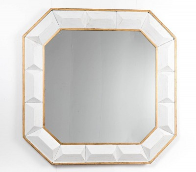 Espejo de pared blanco 80x80cms Gajisa